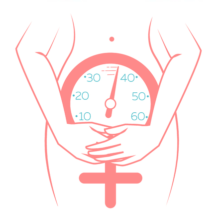 Illustration for concept of menopause in the form of a silhouette of a woman with a clock measuring age. icon in a linear style - Royalty Free Image
