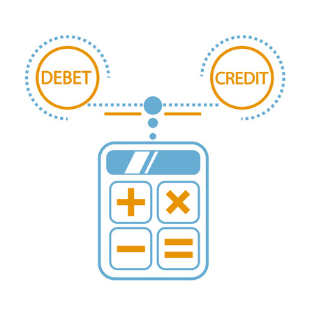 concept of calculation debit and credit,  balance sheet, accounting in the form of calculating a calculator. Icon in the linear style
