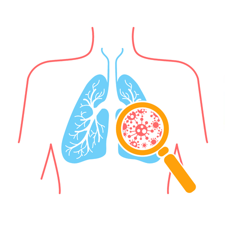 Photo pour icon of lung disease, pneumonia, asthma, cancer in the form of lung anatomy and viruses causing disease. Icon in linear style - image libre de droit