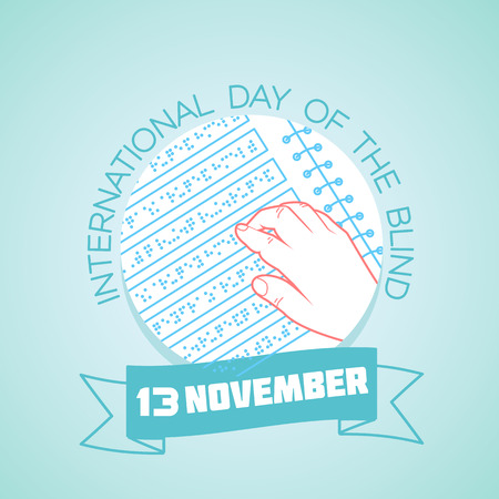 Calendar for each day on november 13. Greeting card. Holiday -  International Day of the Blind. Icon in the linear style