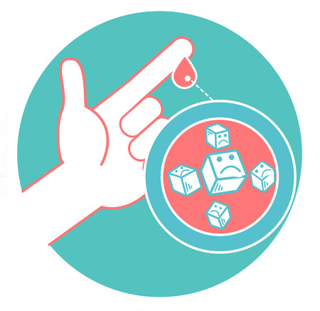 Illustration for Concept of diabetes in the form of measuring blood sugar from a drop of blood from the finger. Icon in the linear style. - Royalty Free Image