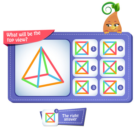 Illustration pour Educational game for kids, puzzle. development of spatial thinking in children. Task game what will be the top view - image libre de droit