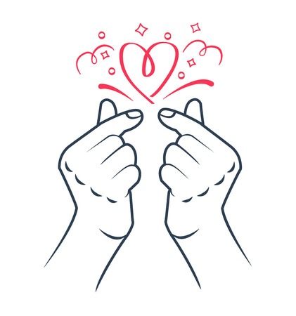 Illustration for korean heart hand gesture symbol. Symbol of the heart and love. Korea finger heart. Icon in the - Royalty Free Image