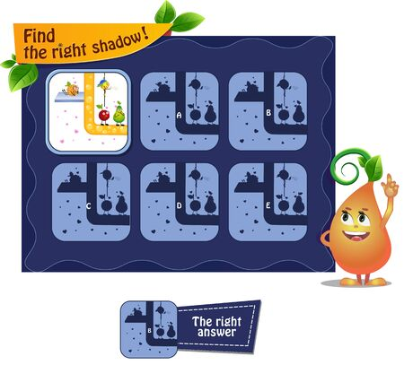 Illustration pour visual game for children and adults. Task game the find right shadow with  funny fruits. - image libre de droit