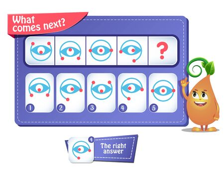 Illustration pour educational game for kids and adults. development of logic, iq. Task game  what comes next? - image libre de droit