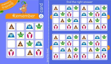 Ilustración de memory training for children and adults.  task of the game is to remember, find the right answer - Imagen libre de derechos
