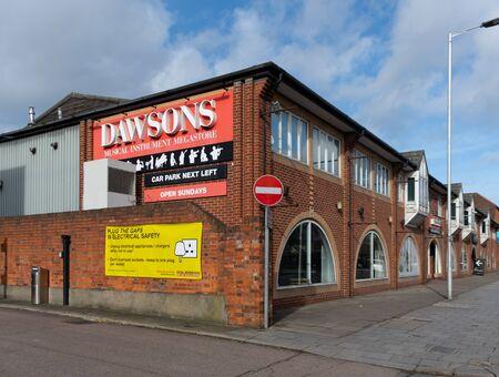 Reading, United Kingdom - February 09 2019:   The exterior of Dawsons Musical Instrument Megastore on Caversham Road