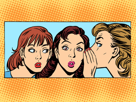 Illustration pour Gossip woman girlfriend retro style pop art - image libre de droit
