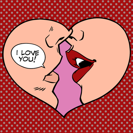 Illustration pour Heart kiss I love you pop art retro style. Man and woman romantic wedding or Valentines day - image libre de droit