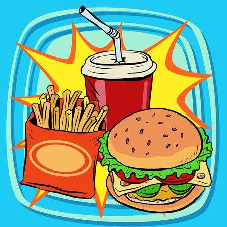 fast food fries burger drink cola pop art retro vector. Street restaurant. Nourishing food. Retro food
