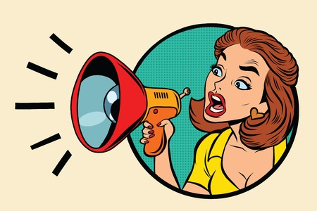 Illustration pour Comic woman agitator shouts into a megaphone, pop art retro comic book illustration - image libre de droit