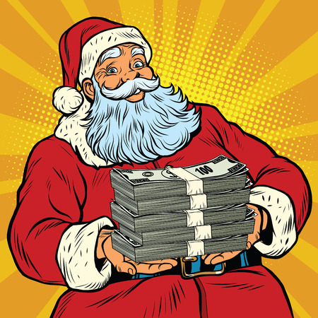 Illustration pour Santa Claus with money, pop art retro comic book illustration. Christmas discounts and sales - image libre de droit