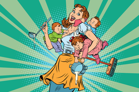 Photo pour Cheerful mother with three children working and talking on the phone. Comic pop art illustration vector drawing - image libre de droit