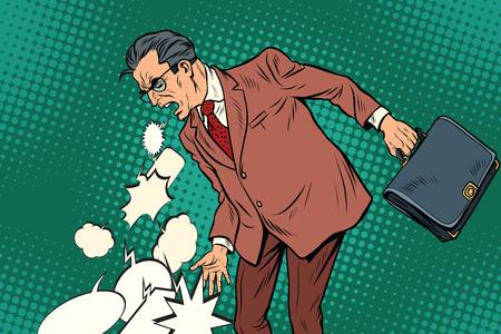 Illustration pour Man sick of the comments and messages. Illustration pop art retro vintage vector - image libre de droit