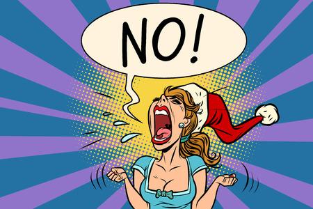 Ilustración de No scream Santa woman vector illustration. - Imagen libre de derechos