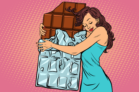 Illustration for A woman hugs chocolate vector illustration. - Royalty Free Image
