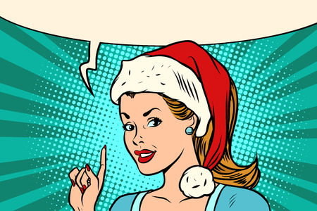 Photo pour Santa woman pointing finger vector illustration. - image libre de droit