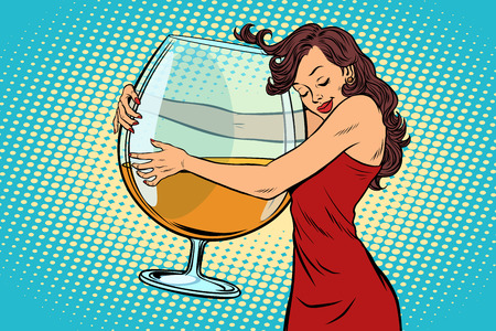 Illustration for A woman hugging a glass of wine vector illustration. - Royalty Free Image