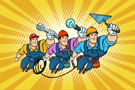 Illustration for Set electrician Builder and repairer professionals - Royalty Free Image