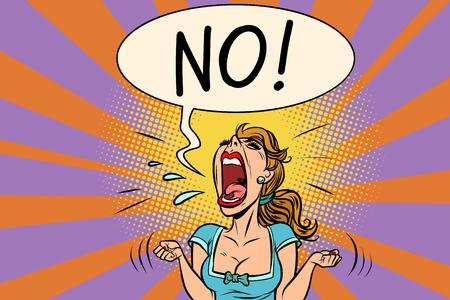 Illustration pour No furious screaming woman - image libre de droit