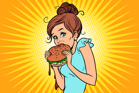 Illustration for Overeating fast food. Woman secretly eating a Burger - Royalty Free Image