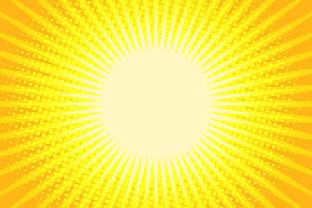 Illustration for Yellow rays pop art background. Comic book cartoon pop art retro illustration - Royalty Free Image