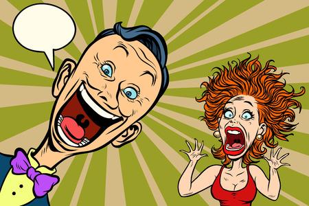 Illustration pour joyful man and scared woman. Comic book cartoon pop art illustration retro drawing - image libre de droit