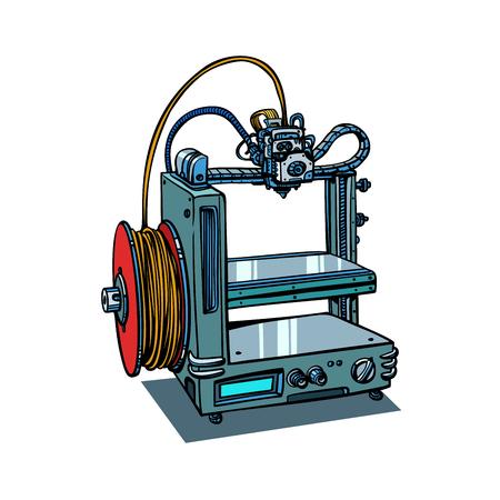 Ilustración de 3D printer manufacturing isolated on white background. Comic book cartoon pop art retro illustration vector - Imagen libre de derechos