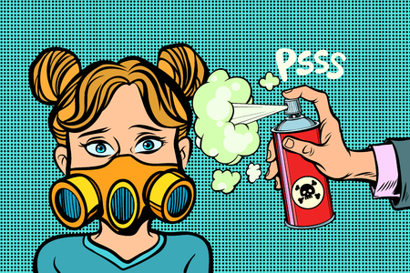 Illustration pour Woman in a gas mask, sprayed poison. Comic cartoon pop art retro illustration vector drawing - image libre de droit