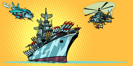 Illustration pour military aircraft carrier with fighter jets and helicopters - image libre de droit