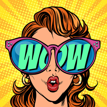 Ilustración de Woman with sunglasses. wow in reflection - Imagen libre de derechos
