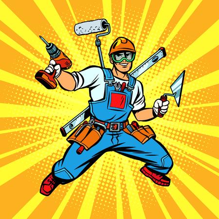 Illustration for Multi-armed Builder repairman - Royalty Free Image