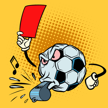 Red card referee whistle. Football soccer ball. Funny character
