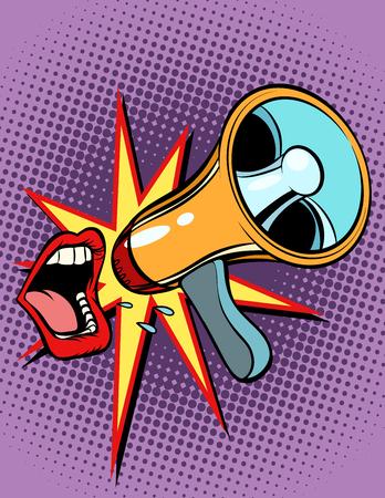 Illustration pour Mouth screaming into a megaphone - image libre de droit
