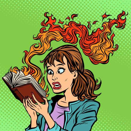 Woman reading a burning book. Censorship concept