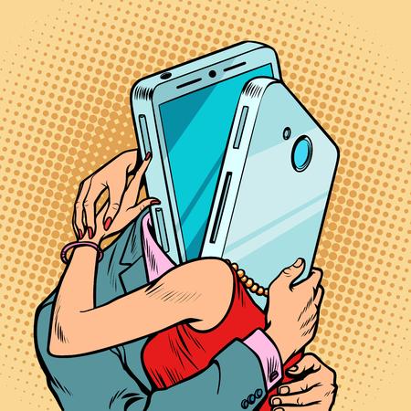 Illustration pour virtual date man and woman hugging. Loving couple - image libre de droit