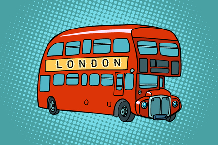 Illustration for London double Decker bus. Comic cartoon pop art retro vector illustration drawing - Royalty Free Image