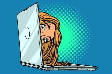 Illustration pour woman peeking out of laptop. Comic cartoon pop art retro vector illustration drawing - image libre de droit