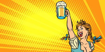 Illustration pour Oktoberfest beer. Woman waitress in traditional German costume. Comic cartoon pop art retro vector illustration drawing - image libre de droit