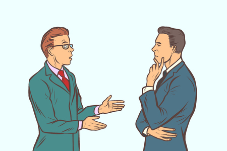 Illustration pour two businessmen brainstorming. collaboration teamwork. Comic cartoon pop art retro vector illustration drawing - image libre de droit