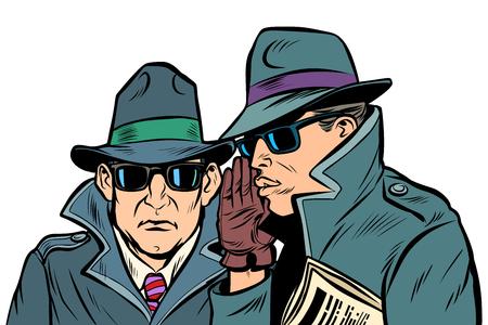 Vektor für Two secret agents whispering. Comic cartoon pop art retro vector illustration drawing - Lizenzfreies Bild