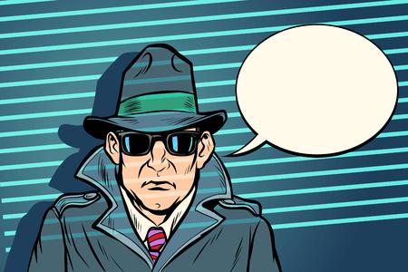 Vektor für spy secret agent. Comic cartoon pop art retro vector illustration drawing - Lizenzfreies Bild