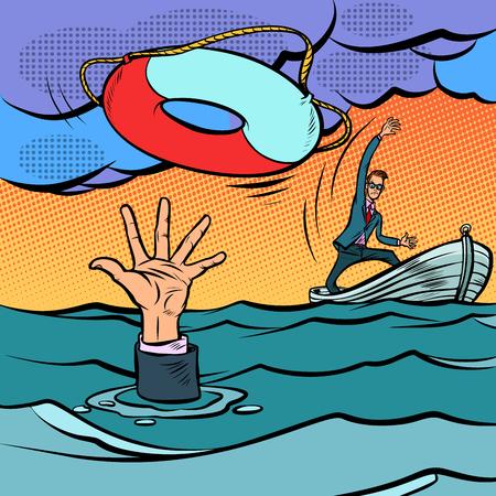 Illustration pour businessman and lifeline. saving the business. life insurance. Comic cartoon pop art retro vector illustration hand drawing - image libre de droit