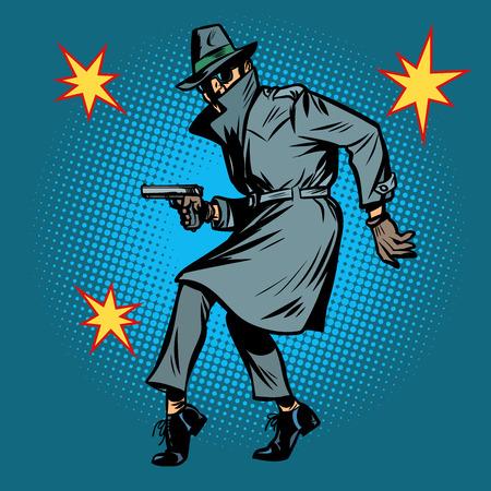 Illustration pour detective spy man with gun pose - image libre de droit
