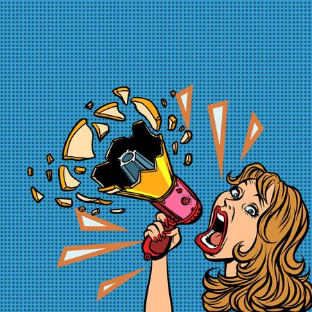 Illustration pour woman with megaphone advertising announcement - image libre de droit