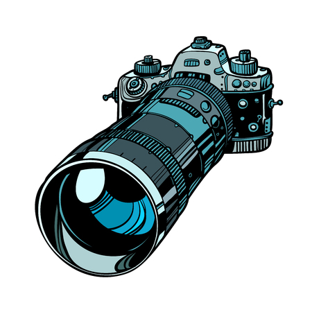 Illustration pour camera with telephoto lens isolate on white background - image libre de droit