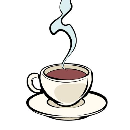 Illustration pour Cup of hot coffee. Comic cartoon pop art vector retro vintage drawing - image libre de droit