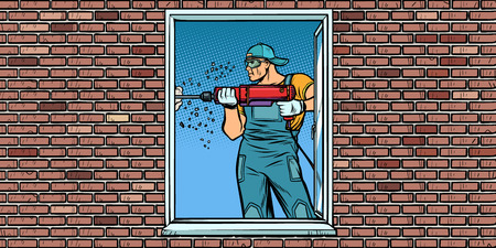 Illustration for a worker installs a window, drilling a wall - Royalty Free Image