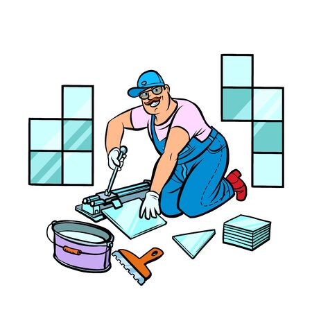 Illustration for professional worker laying tile, repair work - Royalty Free Image