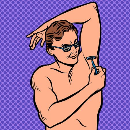 Illustration for a man shaves his armpit with a razor - Royalty Free Image